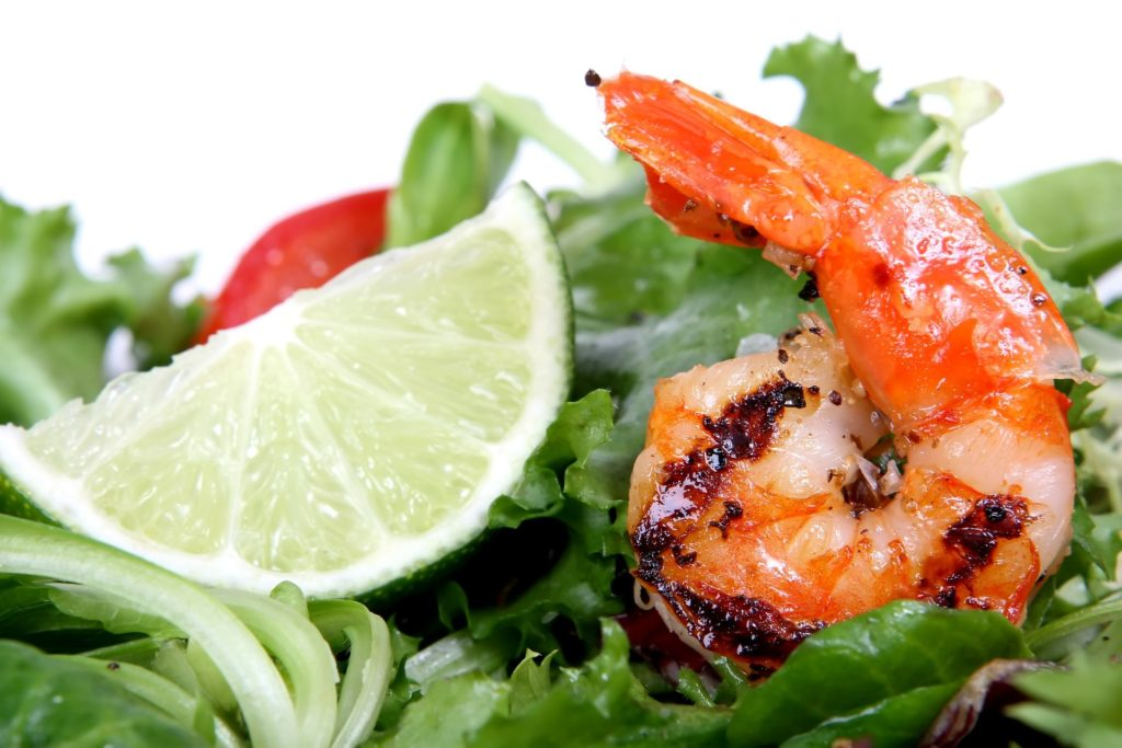 Grilled Shrimp on a bed of lettuce