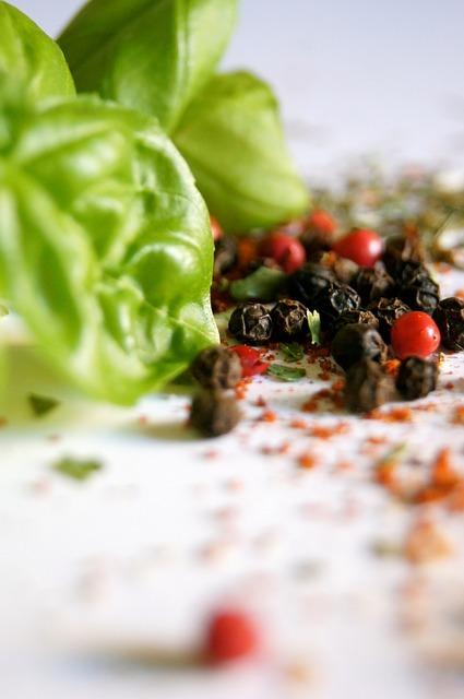 Basil herbs and pepper